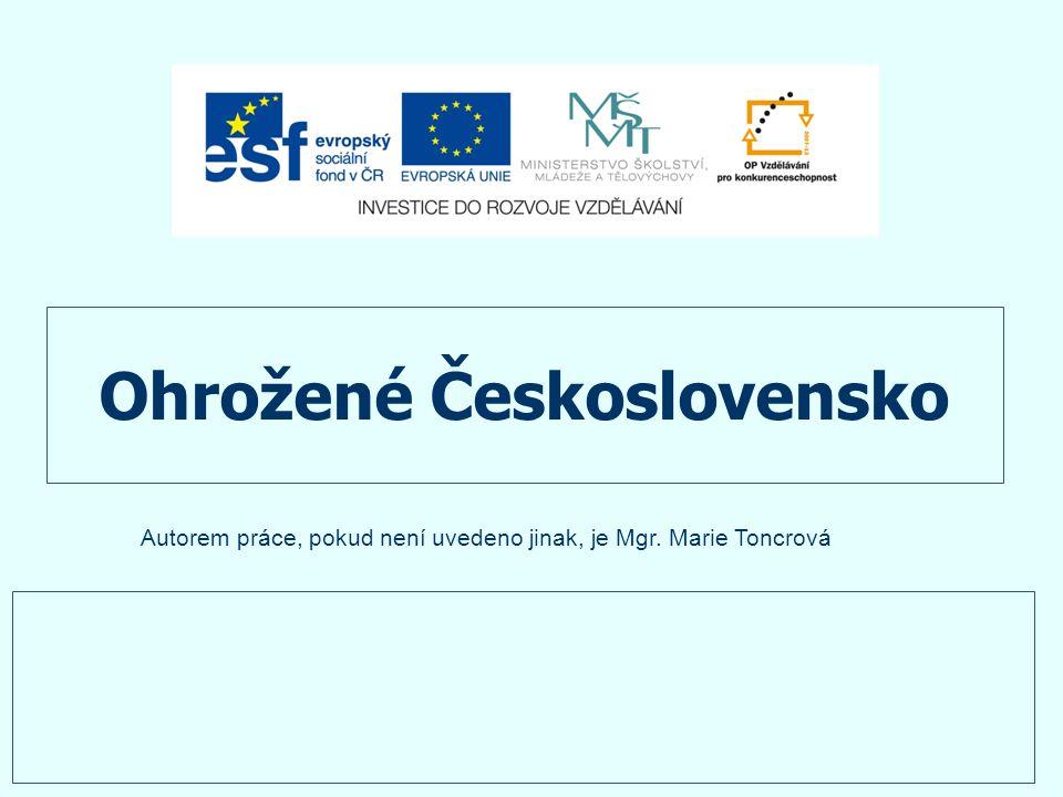 Ohrožené Československo Autorem práce, pokud není uvedeno jinak, je Mgr. Marie Toncrová
