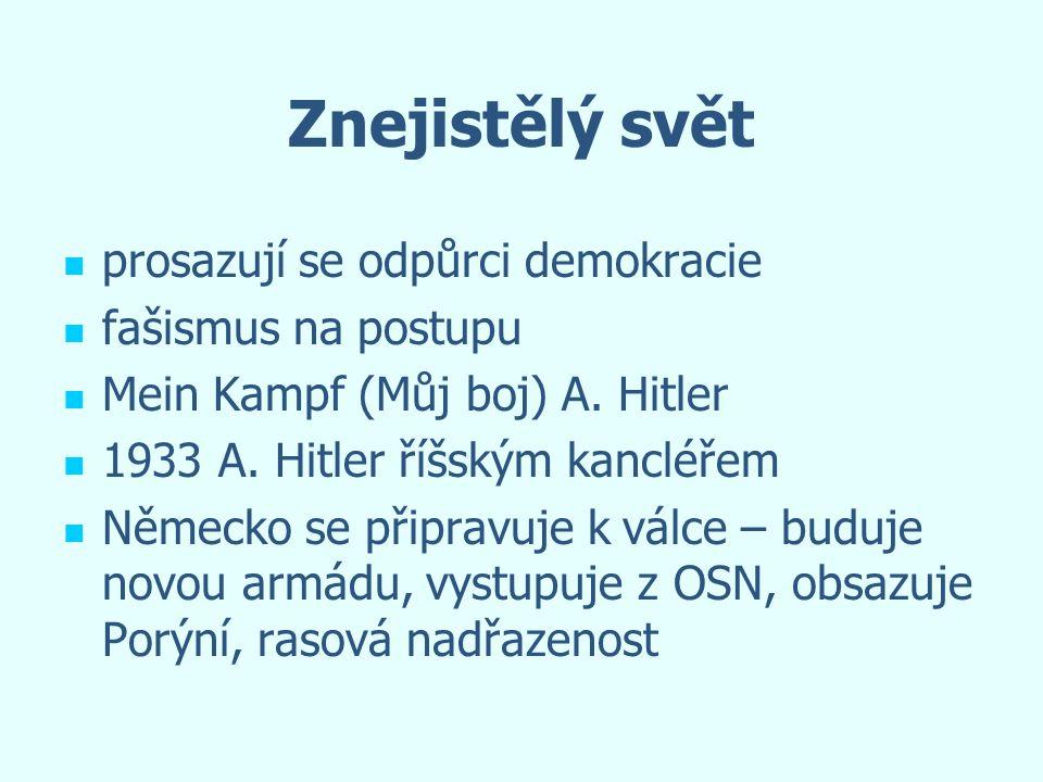 Znejistělý svět prosazují se odpůrci demokracie fašismus na postupu Mein Kampf (Můj boj) A. Hitler 1933 A. Hitler říšským kancléřem Německo se připrav
