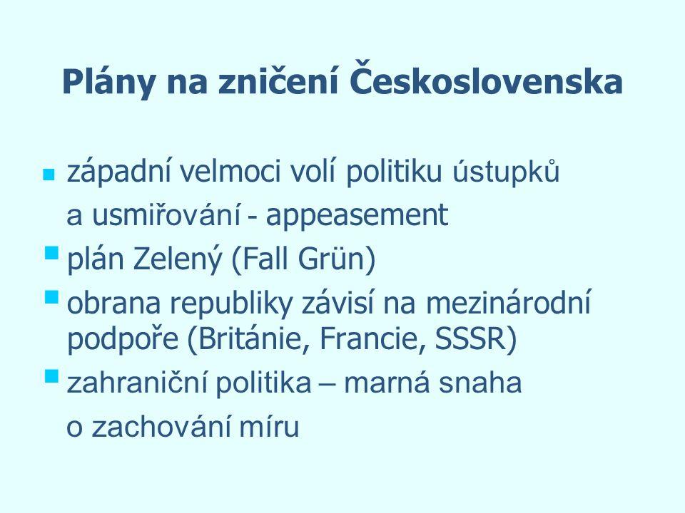 Plány na zničení Československa západní velmoci volí politiku ústupků a usm iřování - appeasement   plán Zelený (Fall Grün)   obrana republiky záv