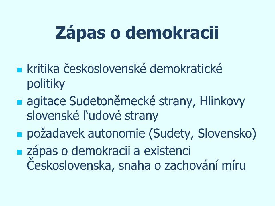 Zápas o demokracii kritika československé demokratické politiky agitace Sudetoněmecké strany, Hlinkovy slovenské l'udové strany požadavek autonomie (S