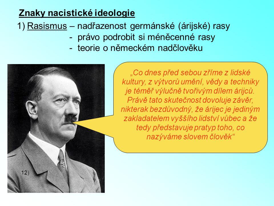 """Znaky nacistické ideologie 1)Rasismus – nadřazenost germánské (árijské) rasy - právo podrobit si méněcenné rasy - teorie o německém nadčlověku 12) """"Co"""