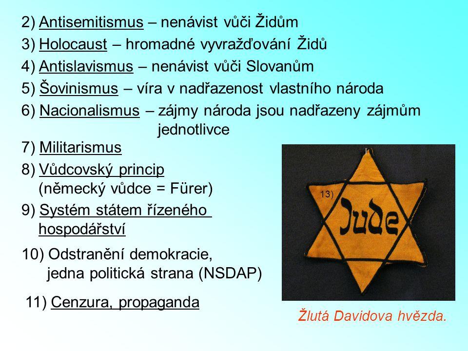 2) Antisemitismus – nenávist vůči Židům 13) 3)Holocaust – hromadné vyvražďování Židů 4) Antislavismus – nenávist vůči Slovanům Žlutá Davidova hvězda.