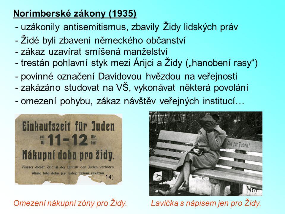 Norimberské zákony (1935) - uzákonily antisemitismus, zbavily Židy lidských práv - Židé byli zbaveni německého občanství - trestán pohlavní styk mezi