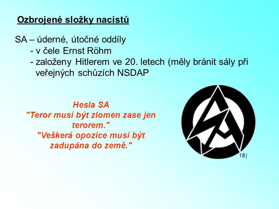 Ozbrojené složky nacistů SA – úderné, útočné oddíly - v čele Ernst Röhm - založeny Hitlerem ve 20. letech (měly bránit sály při veřejných schůzích NSD