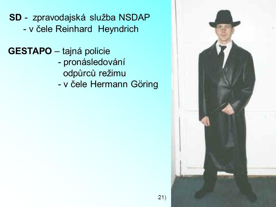 SD - zpravodajská služba NSDAP - v čele Reinhard Heyndrich GESTAPO – tajná policie - pronásledování odpůrců režimu - v čele Hermann Göring 21)