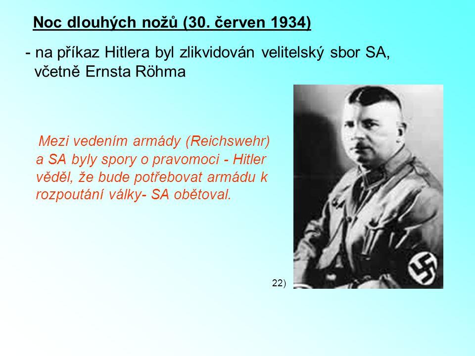 Noc dlouhých nožů (30. červen 1934) - na příkaz Hitlera byl zlikvidován velitelský sbor SA, včetně Ernsta Röhma 22) Mezi vedením armády (Reichswehr) a