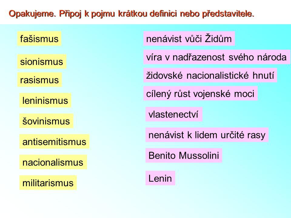 """Nástup nacismu k moci - 1919 Adolf Hitler (1889 – 1945) zakládá NSDAP (Nacionálně socialistickou německou stranu dělnickou) - 1923 nezdařený pokus o puč v Mnichově – Hitler uvězněn (ve vězení sepsal nový program strany """"Mein Kampf = Můj boj) Které z následujících pojmů souvisí s nacistickou ideologií Podtrhni."""