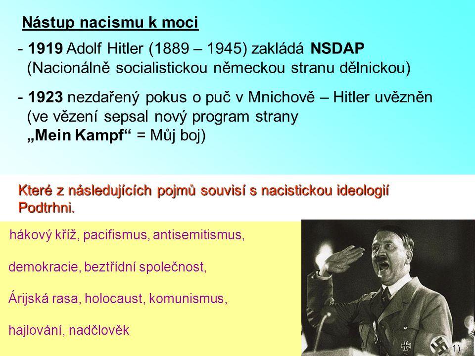 Nástup nacismu k moci - 1919 Adolf Hitler (1889 – 1945) zakládá NSDAP (Nacionálně socialistickou německou stranu dělnickou) - 1923 nezdařený pokus o p