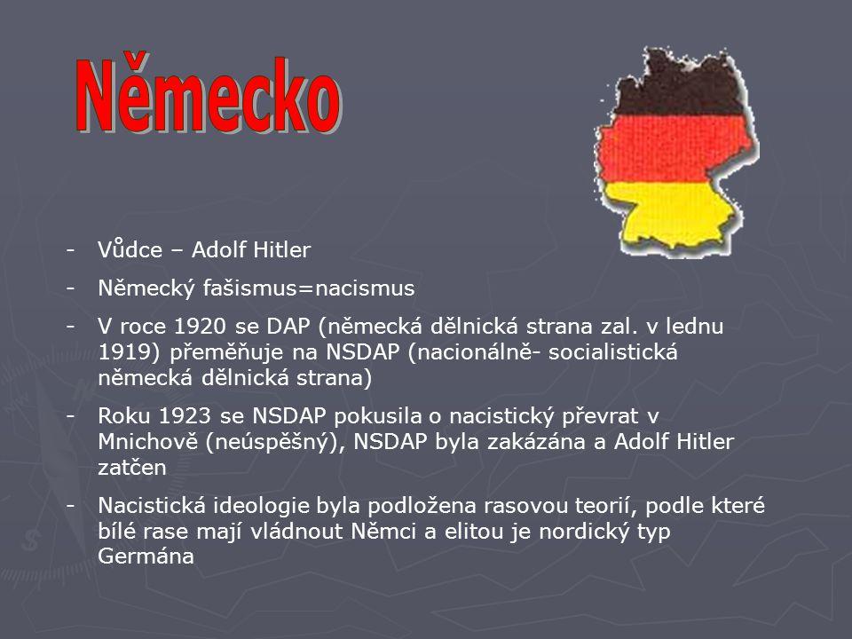 -Vůdce – Adolf Hitler -Německý fašismus=nacismus -V roce 1920 se DAP (německá dělnická strana zal. v lednu 1919) přeměňuje na NSDAP (nacionálně- socia