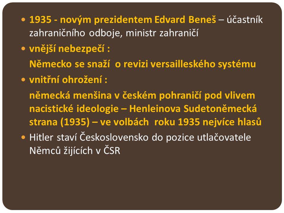 1935 - novým prezidentem Edvard Beneš – účastník zahraničního odboje, ministr zahraničí vnější nebezpečí : Německo se snaží o revizi versailleského sy