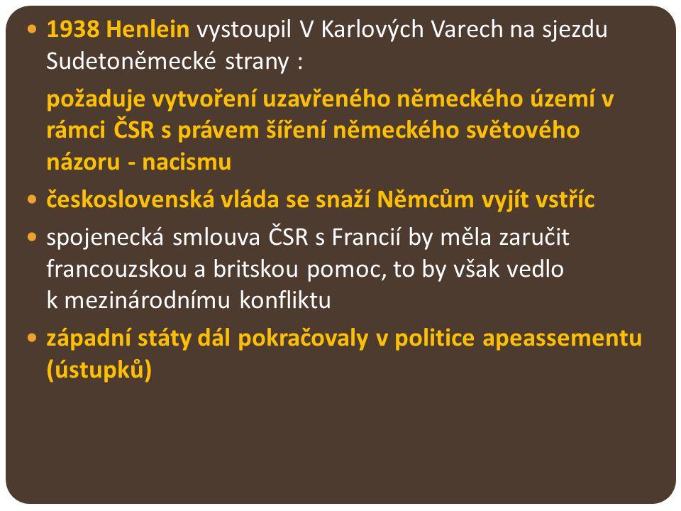 1938 Henlein vystoupil V Karlových Varech na sjezdu Sudetoněmecké strany : požaduje vytvoření uzavřeného německého území v rámci ČSR s právem šíření n