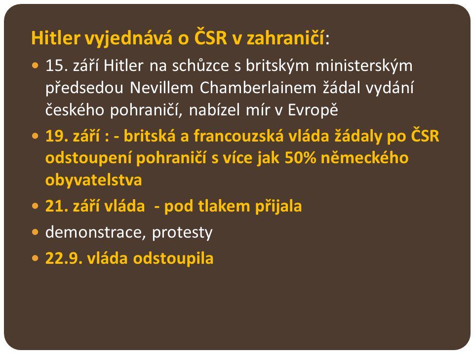 Hitler vyjednává o ČSR v zahraničí: 15. září Hitler na schůzce s britským ministerským předsedou Nevillem Chamberlainem žádal vydání českého pohraničí