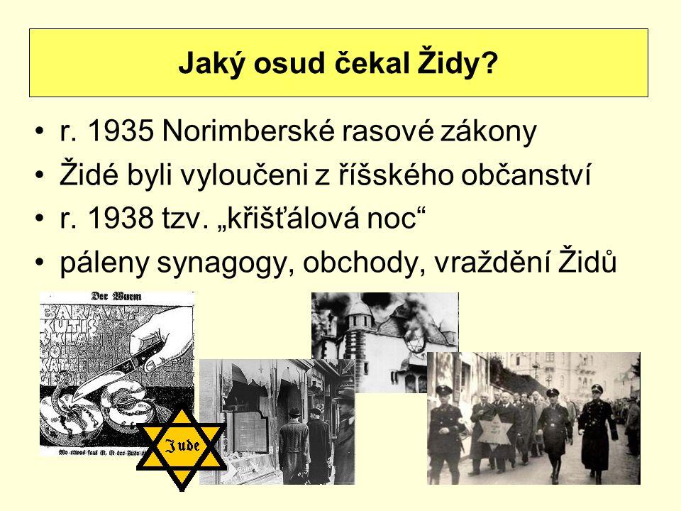 """r. 1935 Norimberské rasové zákony Židé byli vyloučeni z říšského občanství r. 1938 tzv. """"křišťálová noc"""" páleny synagogy, obchody, vraždění Židů Jaký"""