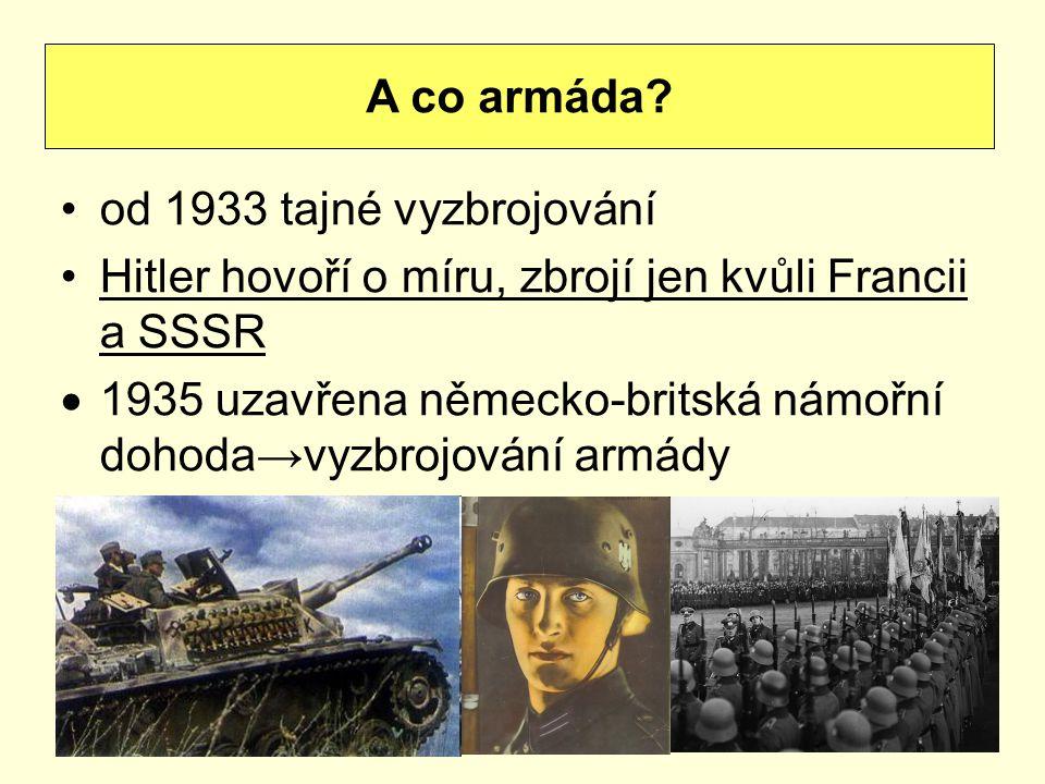 od 1933 tajné vyzbrojování Hitler hovoří o míru, zbrojí jen kvůli Francii a SSSR  1935 uzavřena německo-britská námořní dohoda→vyzbrojování armády A
