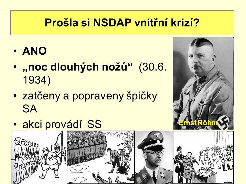 """ANO """"noc dlouhých nožů"""" (30.6. 1934) zatčeny a popraveny špičky SA akci provádí SS Prošla si NSDAP vnitřní krizí? Ernst Röhm"""