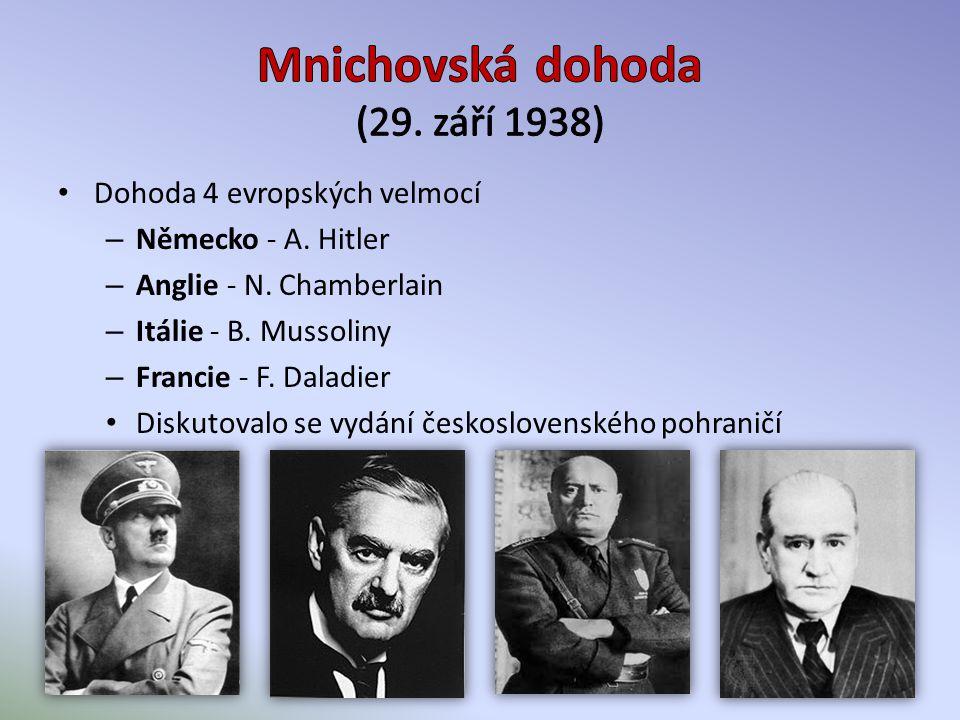 Dohoda 4 evropských velmocí – Německo - A. Hitler – Anglie - N.