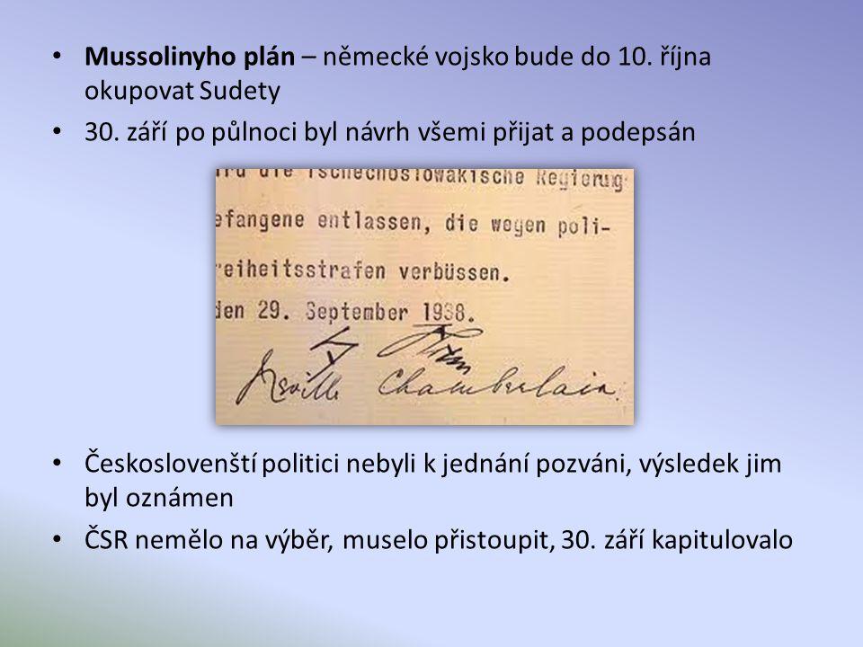 Mussolinyho plán – německé vojsko bude do 10. října okupovat Sudety 30.