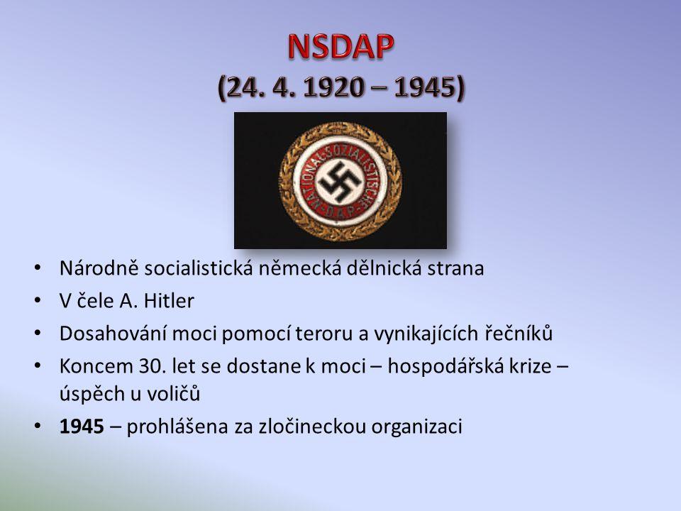 Národně socialistická německá dělnická strana V čele A.