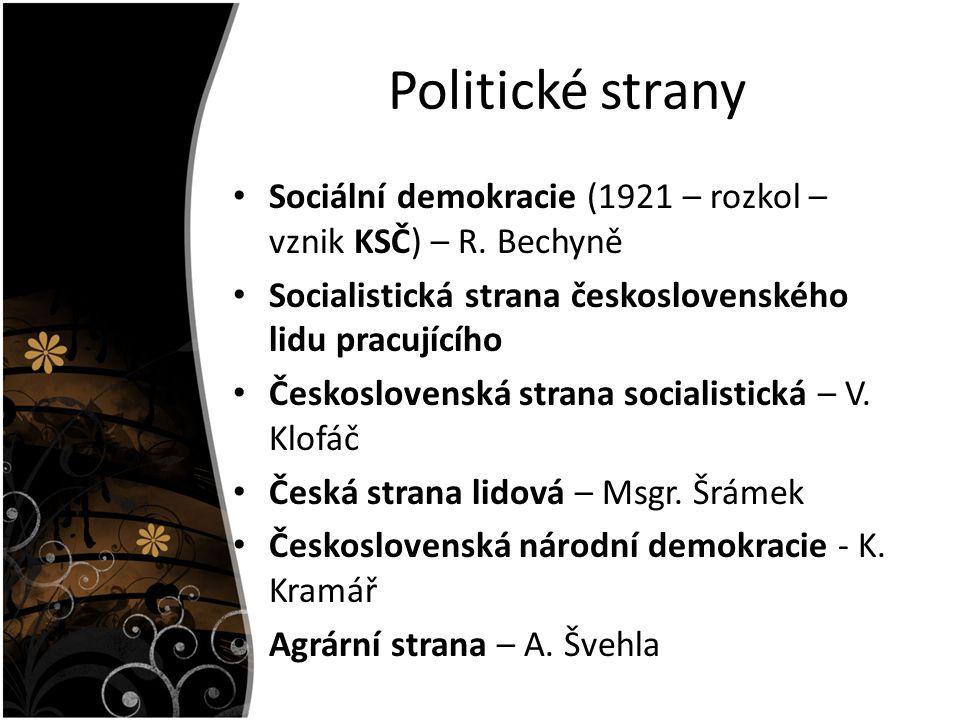 Politické strany Sociální demokracie (1921 – rozkol – vznik KSČ) – R. Bechyně Socialistická strana československého lidu pracujícího Československá st