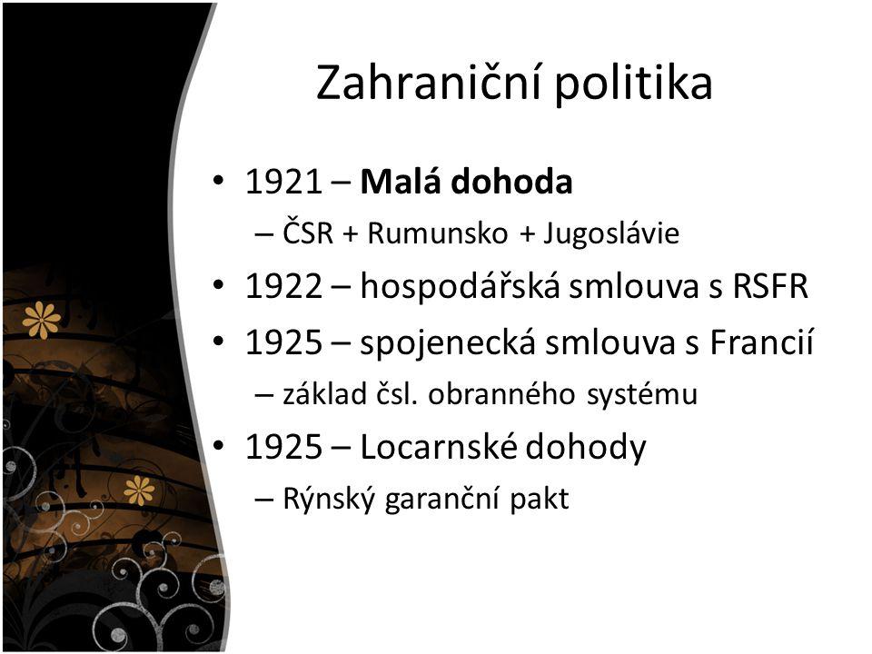 Zahraniční politika 1921 – Malá dohoda – ČSR + Rumunsko + Jugoslávie 1922 – hospodářská smlouva s RSFR 1925 – spojenecká smlouva s Francií – základ čs