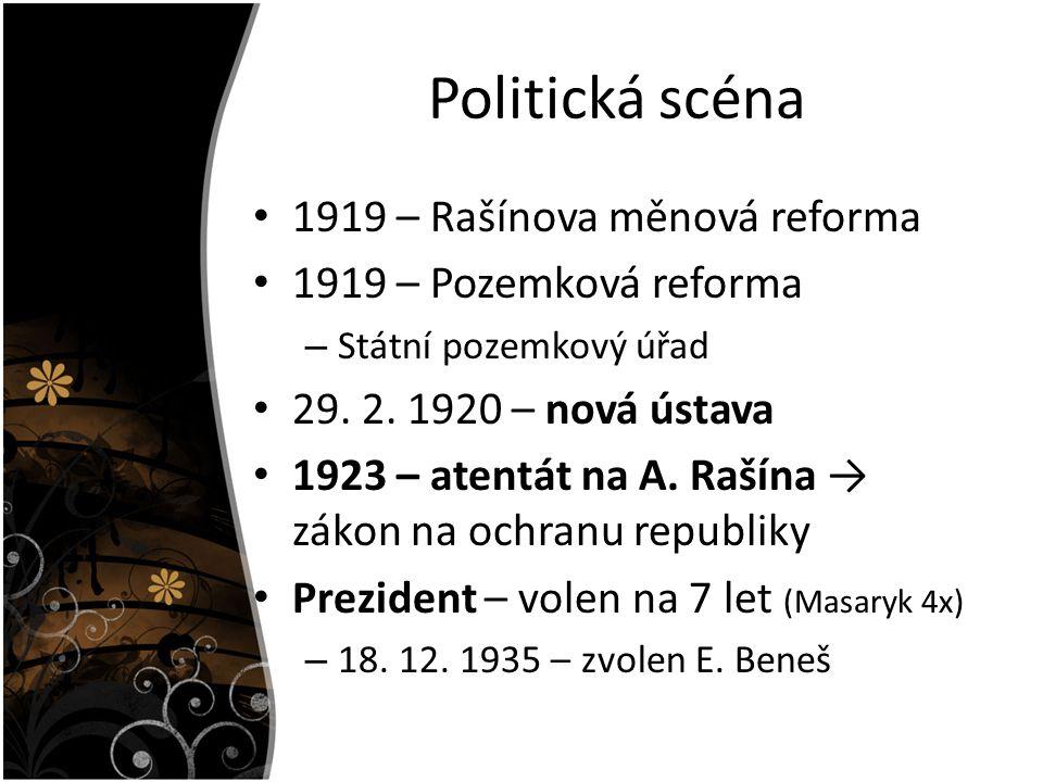 Politická scéna 1919 – Rašínova měnová reforma 1919 – Pozemková reforma – Státní pozemkový úřad 29. 2. 1920 – nová ústava 1923 – atentát na A. Rašína