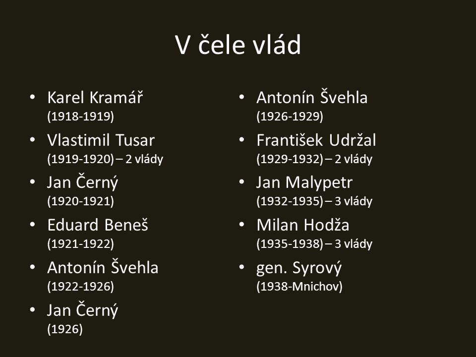 V čele vlád Karel Kramář (1918-1919) Vlastimil Tusar (1919-1920) – 2 vlády Jan Černý (1920-1921) Eduard Beneš (1921-1922) Antonín Švehla (1922-1926) J