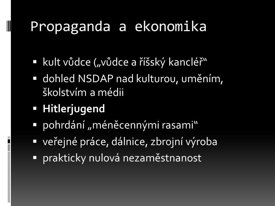 """Propaganda a ekonomika  kult vůdce (""""vůdce a říšský kancléř""""  dohled NSDAP nad kulturou, uměním, školstvím a médii  Hitlerjugend  pohrdání """"méněce"""