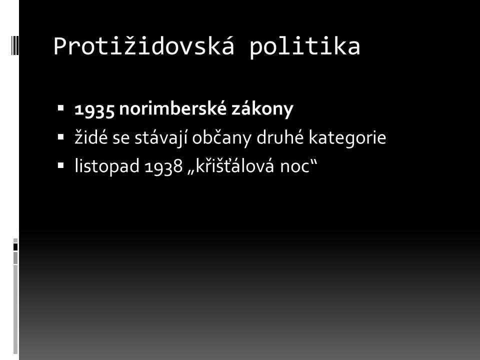 """Protižidovská politika  1935 norimberské zákony  židé se stávají občany druhé kategorie  listopad 1938 """"křišťálová noc"""""""