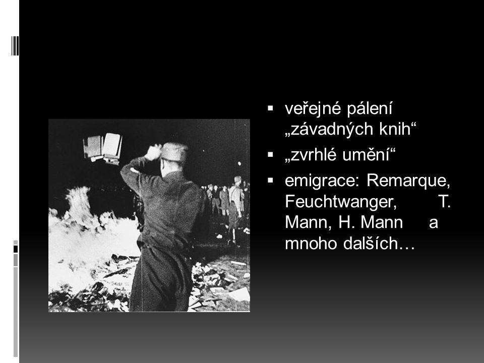 """ veřejné pálení """"závadných knih""""  """"zvrhlé umění""""  emigrace: Remarque, Feuchtwanger, T. Mann, H. Mann a mnoho dalších…"""