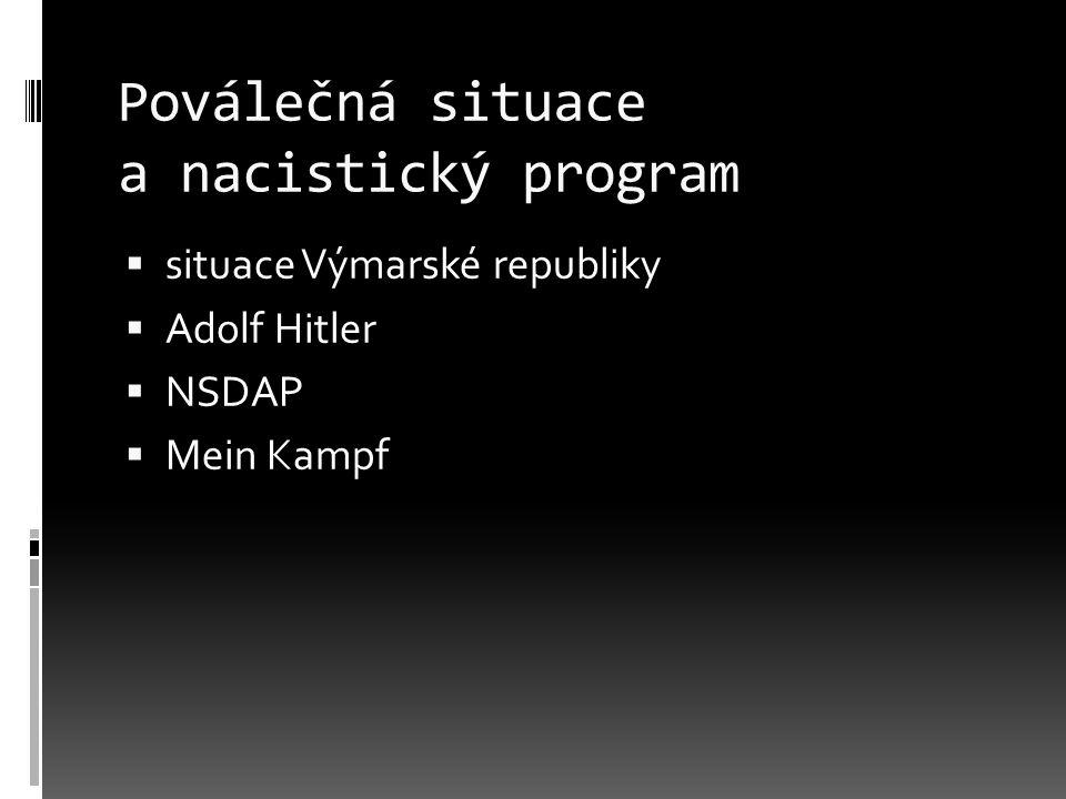 Poválečná situace a nacistický program  situace Výmarské republiky  Adolf Hitler  NSDAP  Mein Kampf