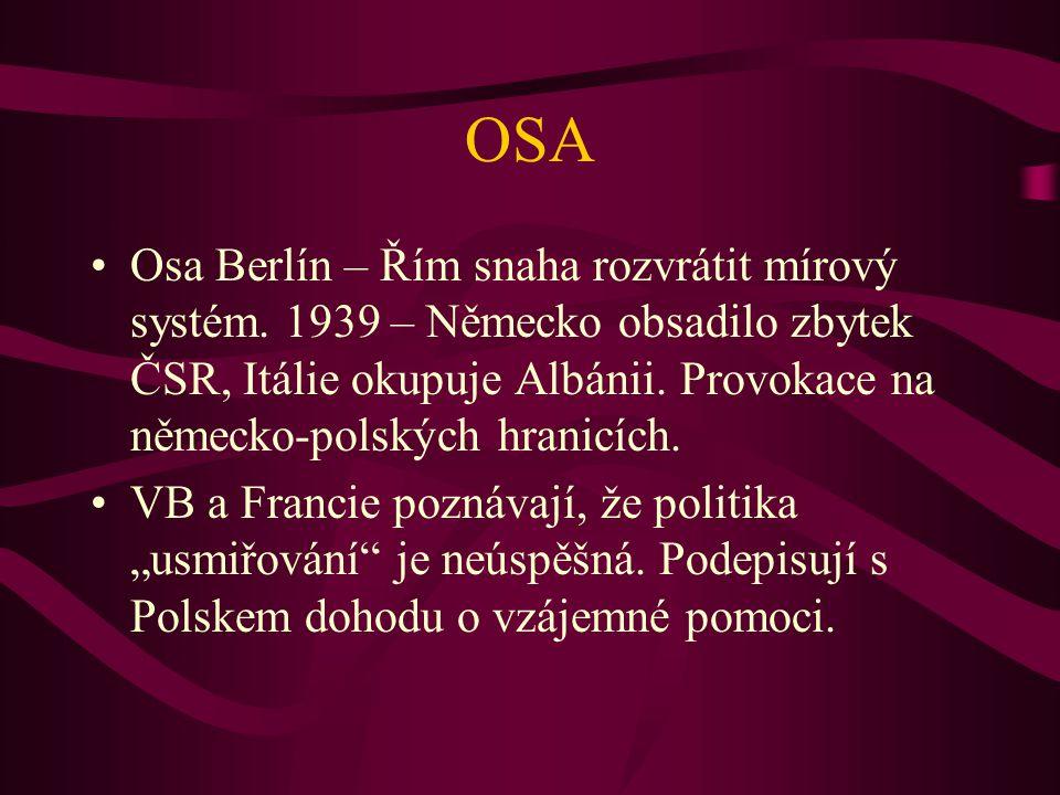 OSA Osa Berlín – Řím snaha rozvrátit mírový systém. 1939 – Německo obsadilo zbytek ČSR, Itálie okupuje Albánii. Provokace na německo-polských hranicíc