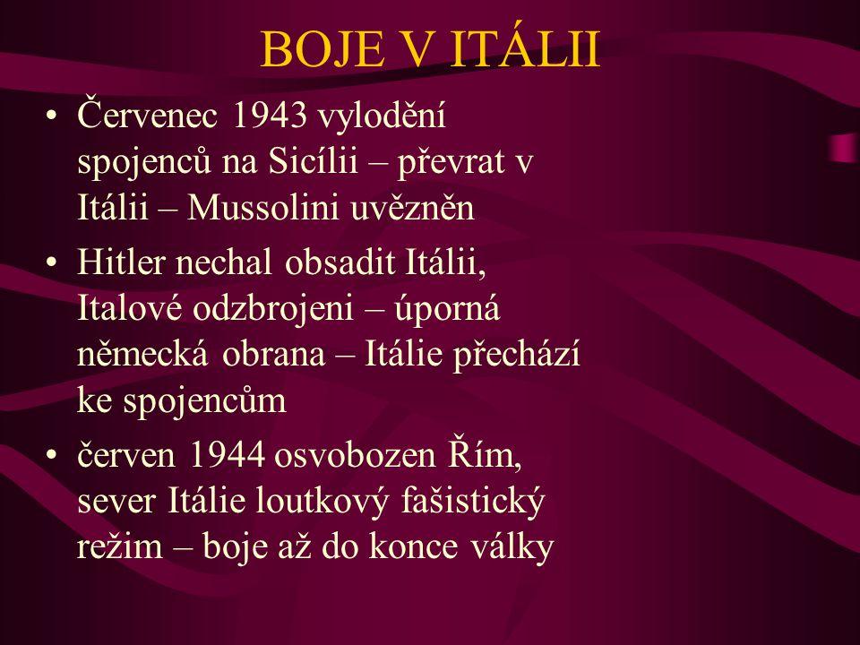 BOJE V ITÁLII Červenec 1943 vylodění spojenců na Sicílii – převrat v Itálii – Mussolini uvězněn Hitler nechal obsadit Itálii, Italové odzbrojeni – úpo