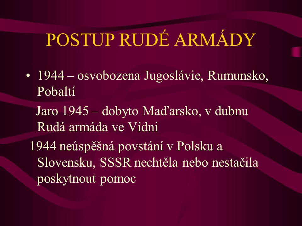 POSTUP RUDÉ ARMÁDY 1944 – osvobozena Jugoslávie, Rumunsko, Pobaltí Jaro 1945 – dobyto Maďarsko, v dubnu Rudá armáda ve Vídni 1944 neúspěšná povstání v