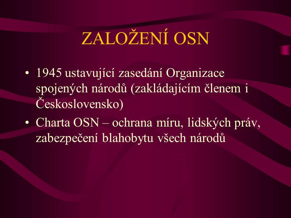 ZALOŽENÍ OSN 1945 ustavující zasedání Organizace spojených národů (zakládajícím členem i Československo) Charta OSN – ochrana míru, lidských práv, zab