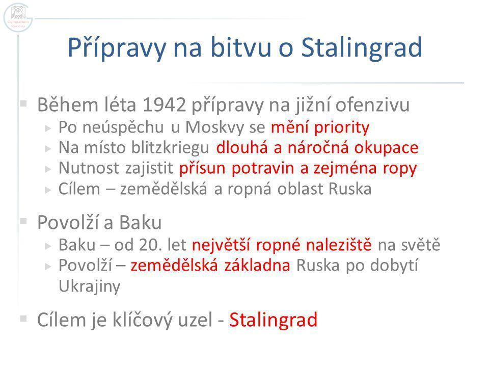 Přípravy na bitvu o Stalingrad  Během léta 1942 přípravy na jižní ofenzivu  Po neúspěchu u Moskvy se mění priority  Na místo blitzkriegu dlouhá a n