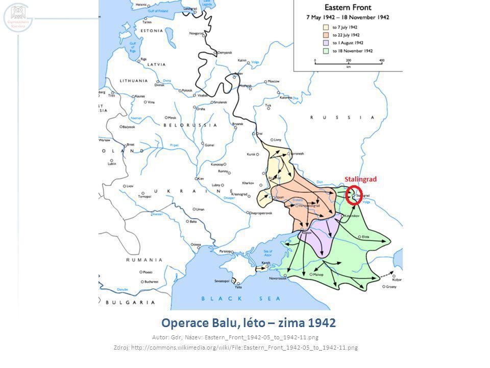 Operace Balu, léto – zima 1942 Autor: Gdr, Název: Eastern_Front_1942-05_to_1942-11.png Zdroj: http://commons.wikimedia.org/wiki/File:Eastern_Front_194