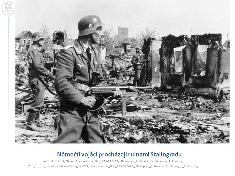 Němečtí vojáci procházejí ruinami Stalingradu Autor: Rothkopf, Název: Bundesarchiv_Bild_183-B22478,_Stalingrad,_Luftwaffen-Soldaten_in_Ruinen.jpg Zdro