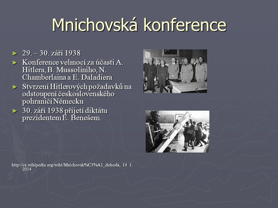 Mnichovská konference ► 29. – 30. září 1938 ► Konference velmocí za účasti A. Hitlera, B. Mussoliniho, N. Chamberlaina a E. Daladiera ► Stvrzení Hitle