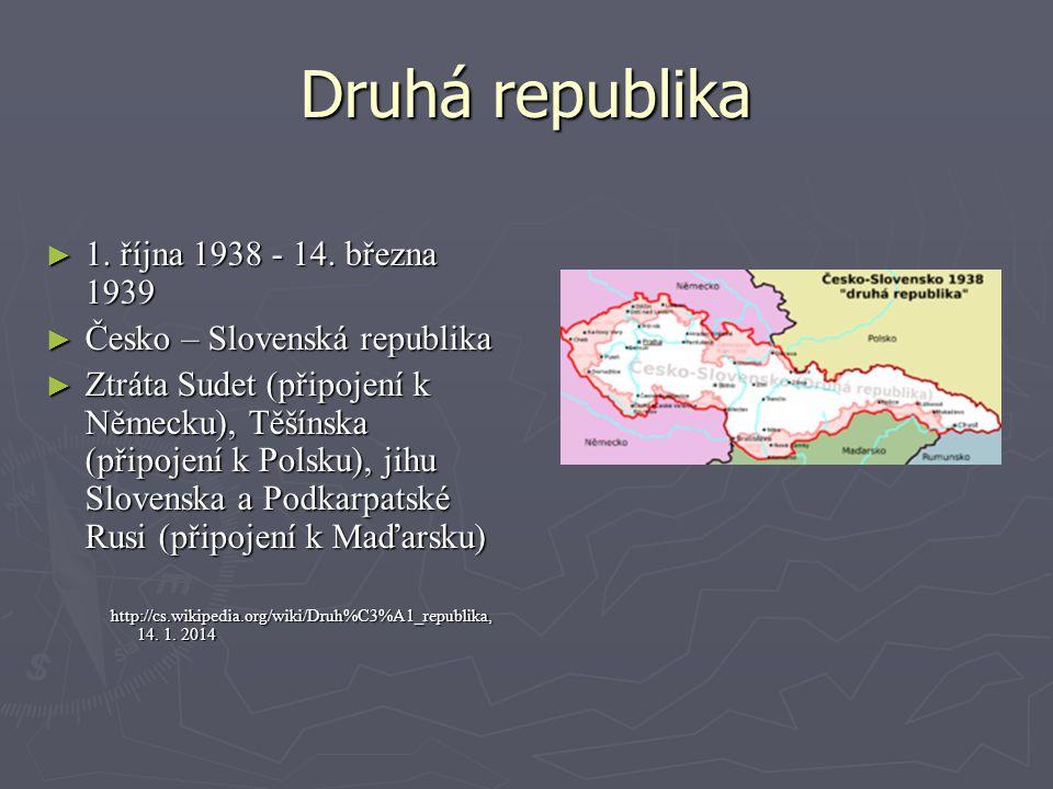 Druhá republika ► 1. října 1938 - 14. března 1939 ► Česko – Slovenská republika ► Ztráta Sudet (připojení k Německu), Těšínska (připojení k Polsku), j