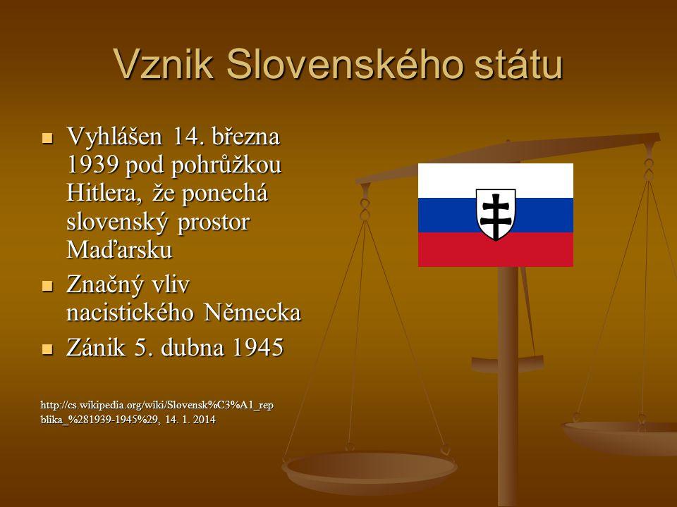 Vznik Slovenského státu Vyhlášen 14. března 1939 pod pohrůžkou Hitlera, že ponechá slovenský prostor Maďarsku Vyhlášen 14. března 1939 pod pohrůžkou H