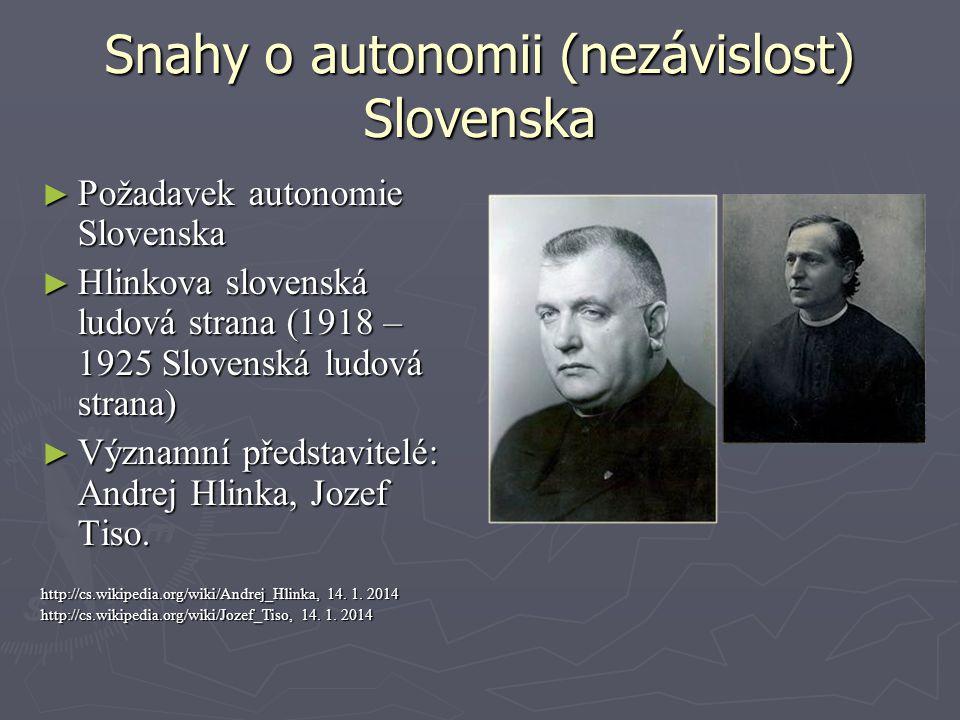 Snahy o autonomii (nezávislost) Slovenska ► Požadavek autonomie Slovenska ► Hlinkova slovenská ludová strana (1918 – 1925 Slovenská ludová strana) ► V