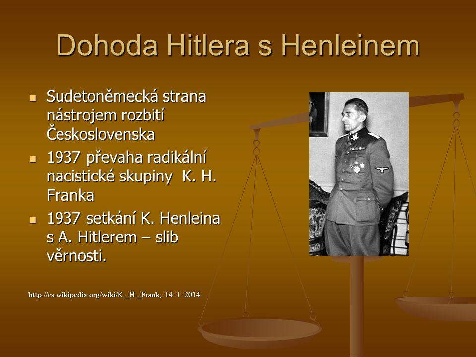 Dohoda Hitlera s Henleinem Sudetoněmecká strana nástrojem rozbití Československa Sudetoněmecká strana nástrojem rozbití Československa 1937 převaha ra