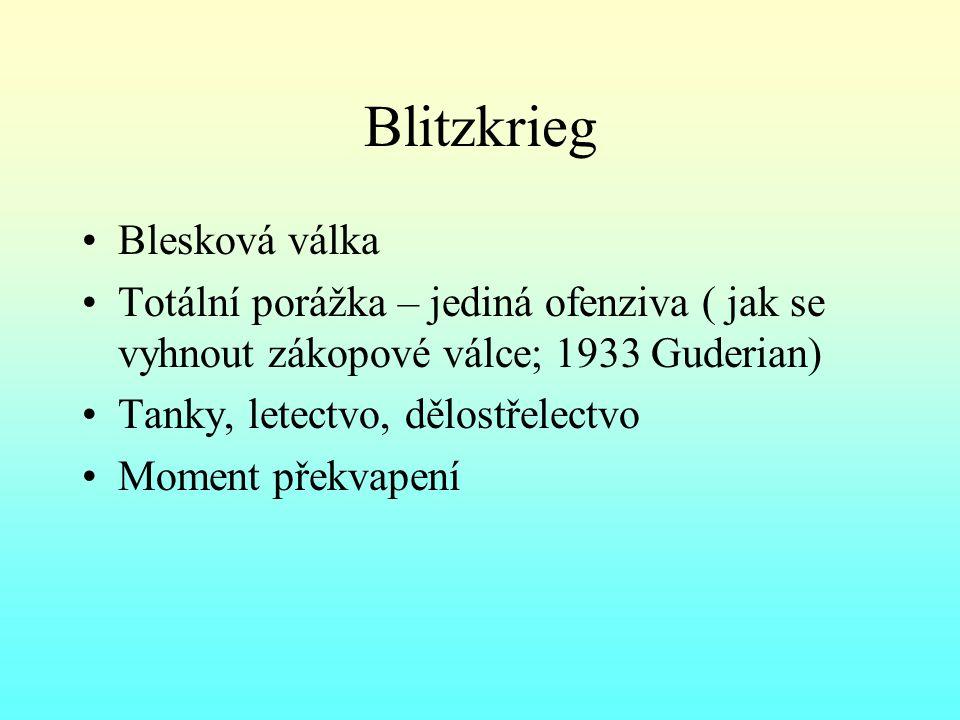 Blitzkrieg Blesková válka Totální porážka – jediná ofenziva ( jak se vyhnout zákopové válce; 1933 Guderian) Tanky, letectvo, dělostřelectvo Moment překvapení