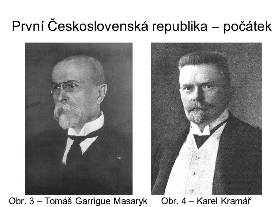 První Československá republika – počátek Obr. 3 – Tomáš Garrigue Masaryk Obr. 4 – Karel Kramář