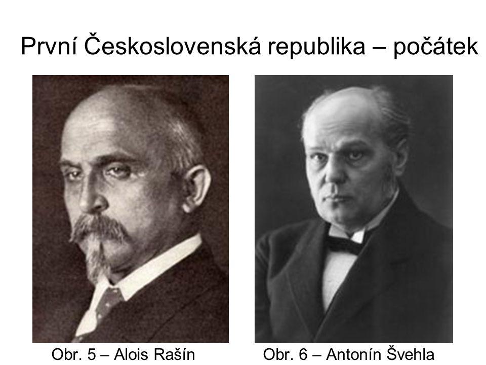 První Československá republika – počátek Obr. 5 – Alois Rašín Obr. 6 – Antonín Švehla