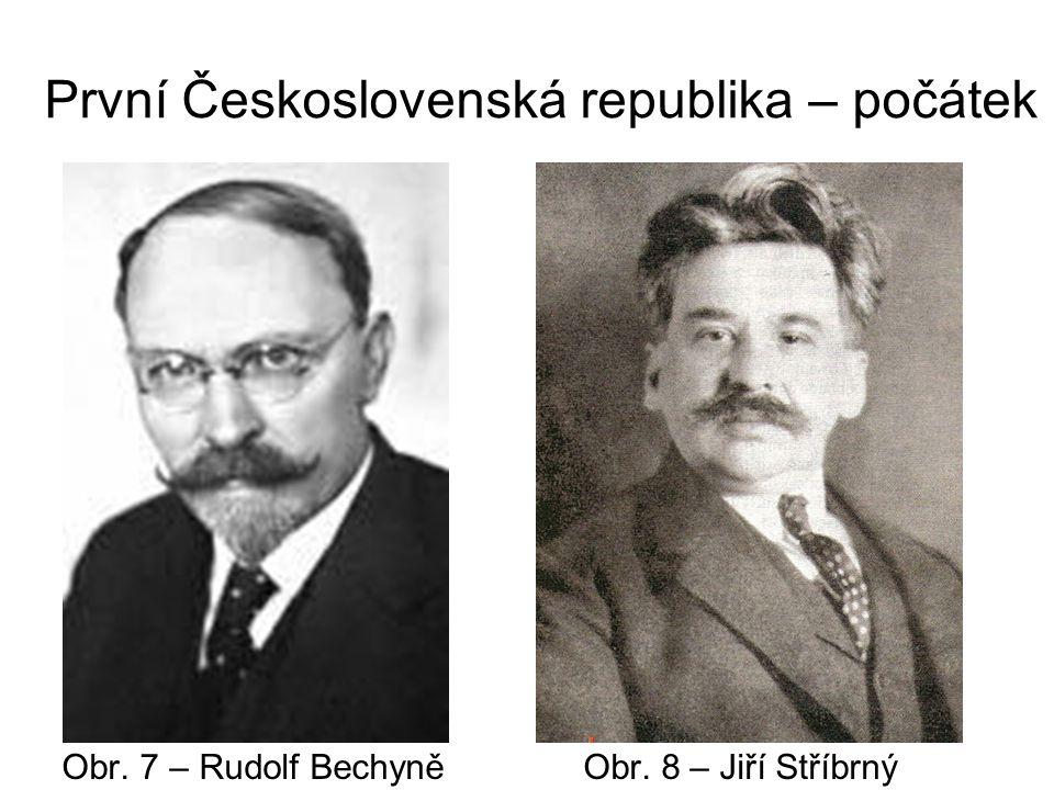 První Československá republika – počátek Obr. 7 – Rudolf Bechyně Obr. 8 – Jiří Stříbrný