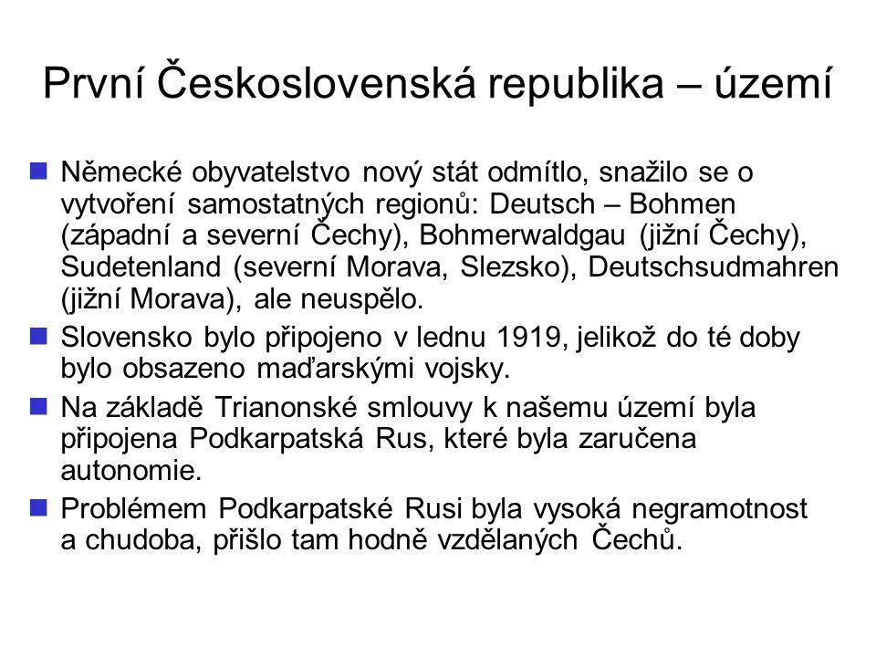 První Československá republika – území Německé obyvatelstvo nový stát odmítlo, snažilo se o vytvoření samostatných regionů: Deutsch – Bohmen (západní