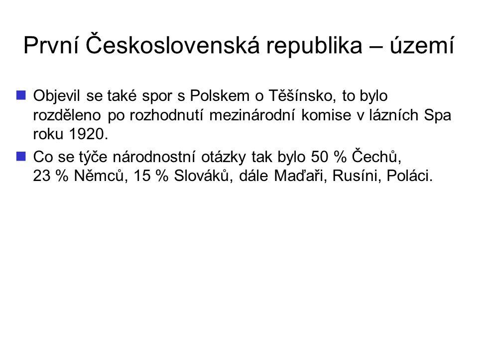 První Československá republika – území Objevil se také spor s Polskem o Těšínsko, to bylo rozděleno po rozhodnutí mezinárodní komise v lázních Spa rok