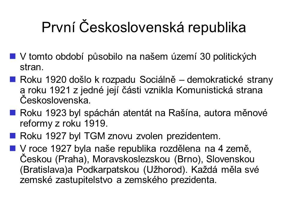 První Československá republika V tomto období působilo na našem území 30 politických stran. Roku 1920 došlo k rozpadu Sociálně – demokratické strany a