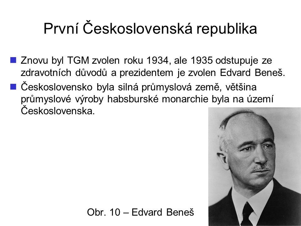 První Československá republika Znovu byl TGM zvolen roku 1934, ale 1935 odstupuje ze zdravotních důvodů a prezidentem je zvolen Edvard Beneš. Českoslo